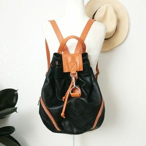 Borse in Pelle Leather Backpack Drawstring Bag